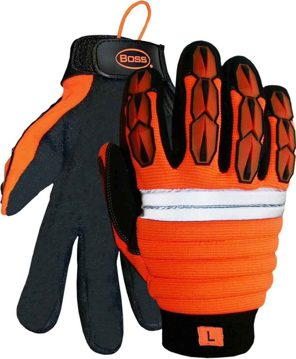 Boss 1jm400 Hi Vis Impact Gloves Palmflex