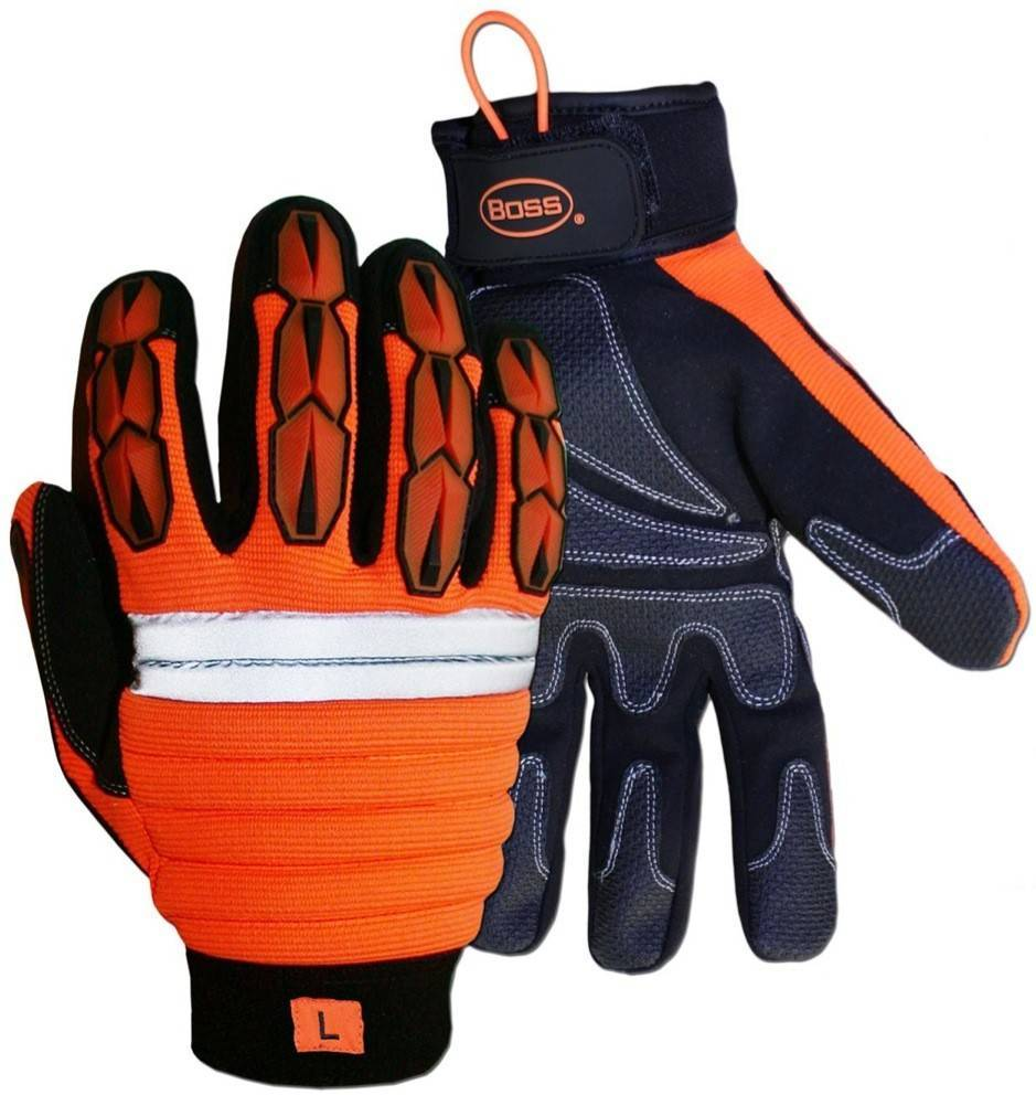 Boss 1jm650 Hi Vis Impact Plus Thinsulate Lined Gloves Palmflex