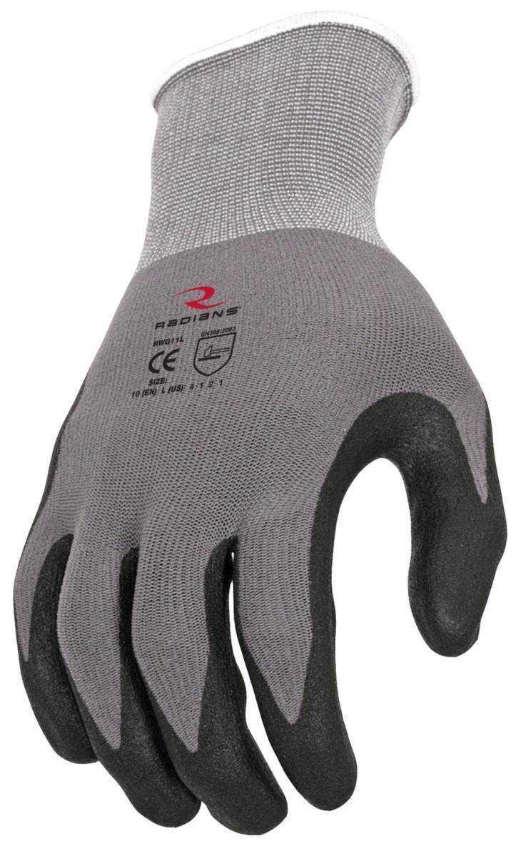 Radians Rwg11 Microdot Foam Nitrile Gripper Gloves Palmflex