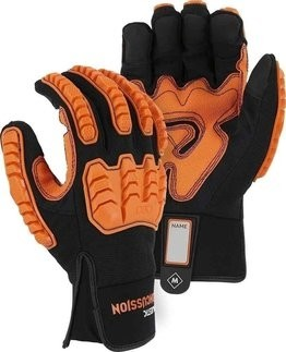 Majestic 21472BK Knucklehead Mechanics Gloves with D3O® Impact Protection & Palm Padding