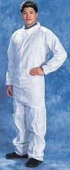 Tian's 216893 SMS White Coveralls with Elastic Wrists and Ankles