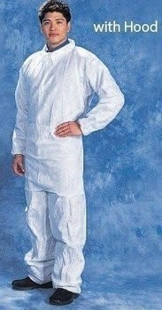 Tian's 226893 SMS White Coveralls with Hood and Elastic Wrists and Ankles