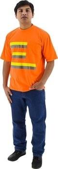 Majestic 75-5023 Hi Vis Striped Short Sleeve Shirt w/ Pocket- NON ANSI