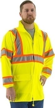 Majestic Glove 75-7303 Polyester High Visibility DOT Rain Coat with Concealed Hood 2X-Large Yellow 48 Length 75-7303-X2 48 Length