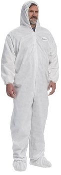 West Chester C3809 Posi M3 White SMMMS Coveralls with Elastic Wrist & Ankle, Hood & Boots