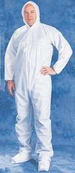 Tian's 206853 Microporous White Coveralls with Hood and Boots
