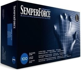 SemperForce 5 Mil Black Nitrile Exam Powder Free Gloves
