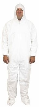 Safety Zone 60 Gram Microporous Tyvek-like Coveralls with Hood and Boot- DCWF-SZ-BB