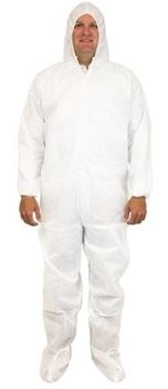 Safety Zone 50 Gram SMS Coveralls with Hood and Boots, Elastic Wrists and Ankles - DCWF-SMS