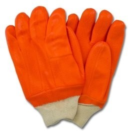 Safety Zone Orange Jersey Insulated PVC Gloves With Knit Wrist