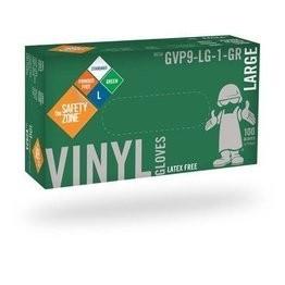 Safety Zone GVP9-1-GR Standard Green Vinyl Powder Free Gloves