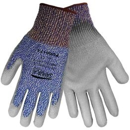 Global Glove PUG617 Samurai String Knit Gloves - Gray PU on HDPE - ANSI Level 4 Cut Resistance