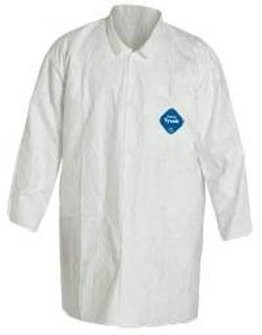 Dupont Tyvek TY212S White Lab Coat with Collar and Pockets