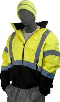 Majestic 75-1311 Hi-Vis Black Bottom Bomber Jacket - ANSI 3