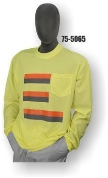Majestic 75-5065/5066 Hi Vis Striped Long Sleeve Shirt- NON ANSI