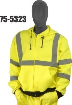 Majestic 75-5323 Hi-Vis Sweatshirt with Zipper Front and Hood - ANSI 3