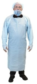 Safety Zone Blue Cast Polyethylene Coat Aprons With Thumb Hole Sleeves - 4 MIL