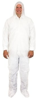 Safety Zone 40 Gram Polypropylene Coveralls with Hood, Boots and Elastic Wrists # DCWF-40