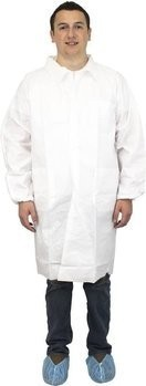 Safety Zone 60 Gram Breathable Microporous Lab Coats with Pockets, Elastic Wrists