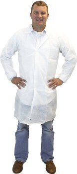 Safety Zone 50 Gram SMS Lab Coats - with Pockets, Knit Wrist